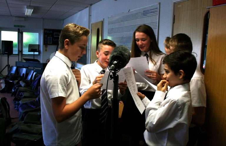 Ridgeway students record part of a radio play